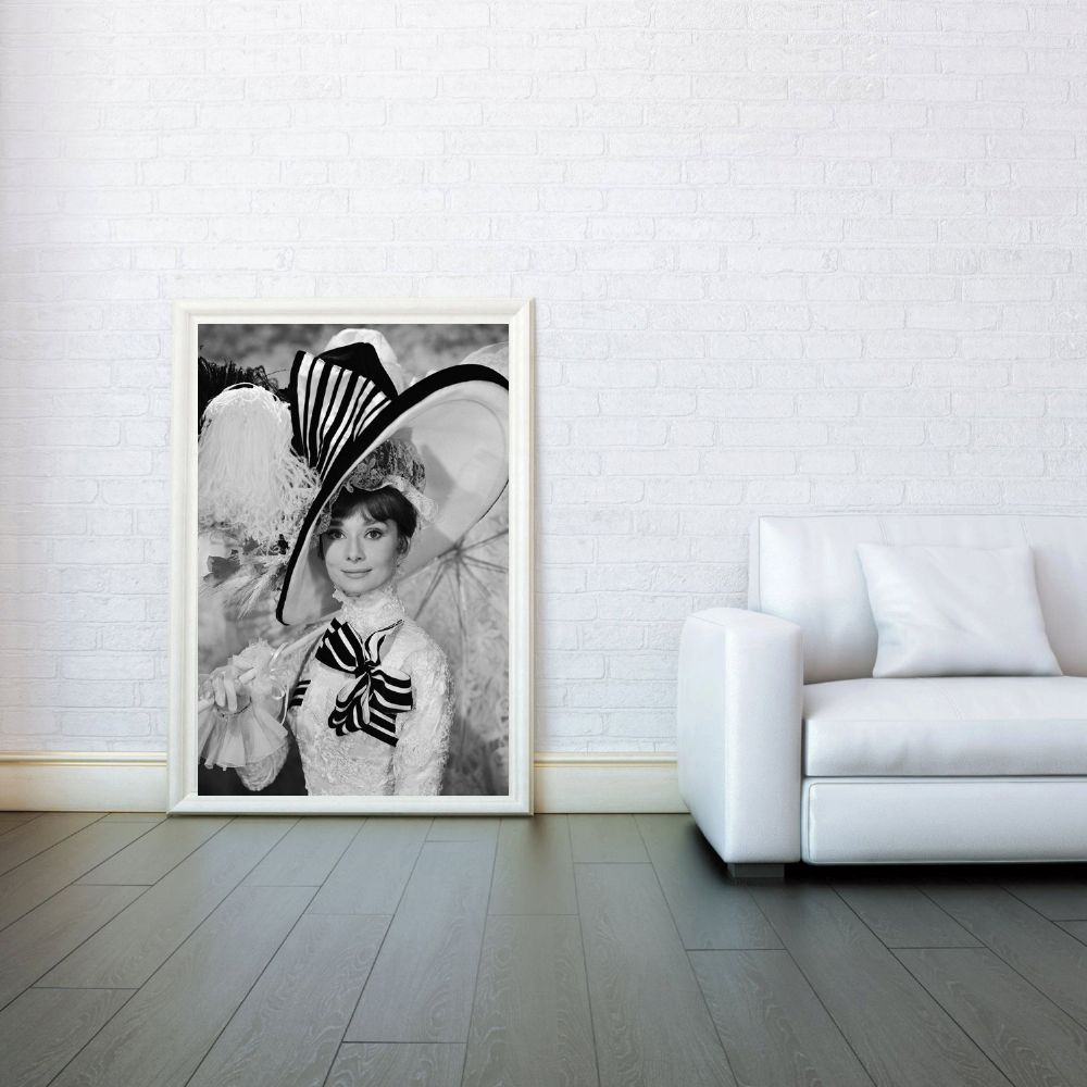 Audrey hepburn my fair lady celebrity icon decorative for Black and white celebrity prints