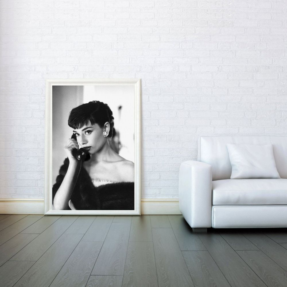 Audrey hepburn on phone celebrity icon decorative arts for Black and white celebrity prints